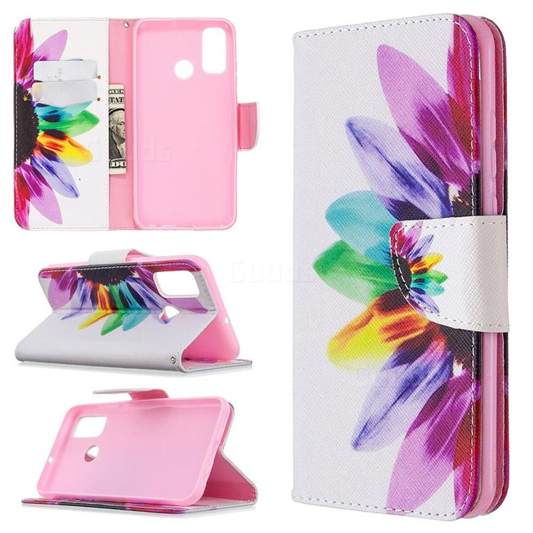 Seven-color Flowers Leather Wallet Case for Huawei P Smart (2020)