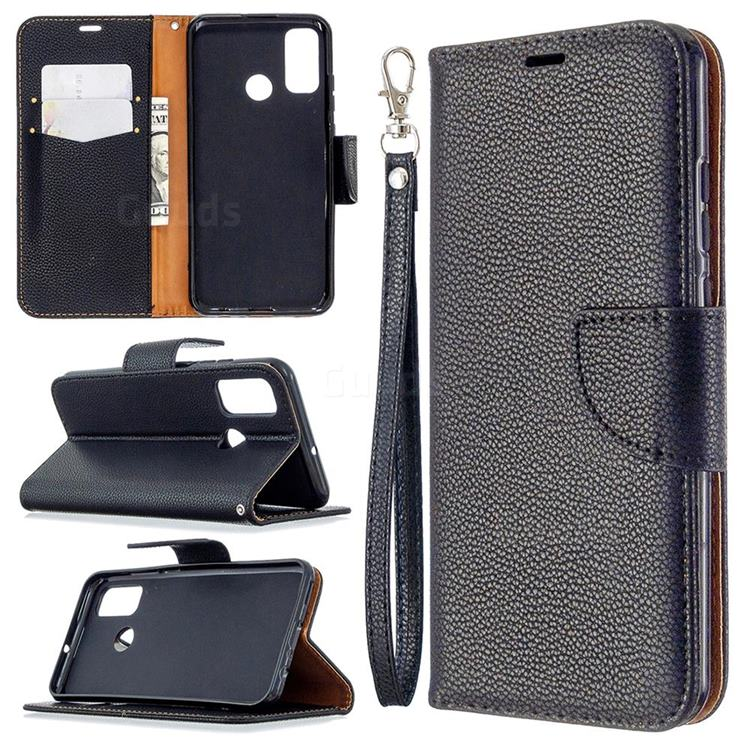 Classic Luxury Litchi Leather Phone Wallet Case for Huawei P Smart (2020) - Black