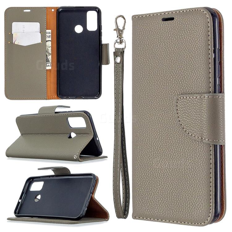 Classic Luxury Litchi Leather Phone Wallet Case for Huawei P Smart (2020) - Gray