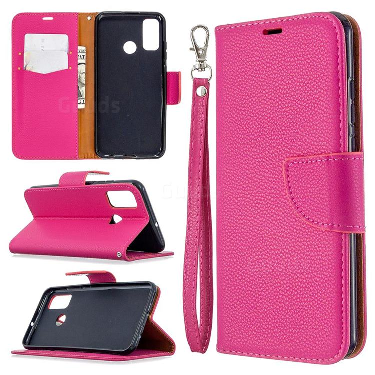 Classic Luxury Litchi Leather Phone Wallet Case for Huawei P Smart (2020) - Rose