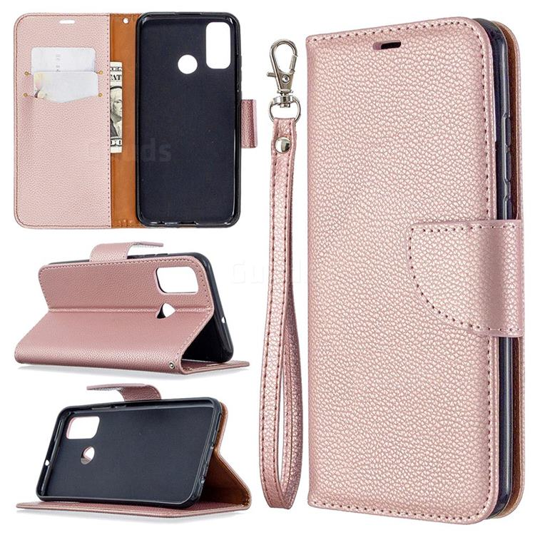 Classic Luxury Litchi Leather Phone Wallet Case for Huawei P Smart (2020) - Golden