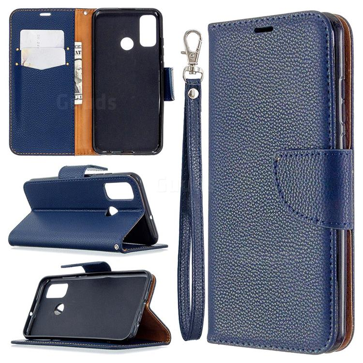 Classic Luxury Litchi Leather Phone Wallet Case for Huawei P Smart (2020) - Blue