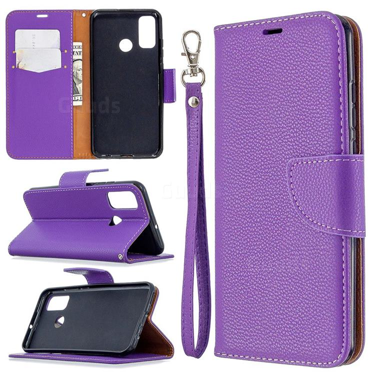 Classic Luxury Litchi Leather Phone Wallet Case for Huawei P Smart (2020) - Purple