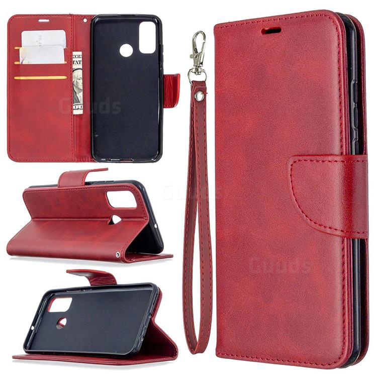 Classic Sheepskin PU Leather Phone Wallet Case for Huawei P Smart (2020) - Red