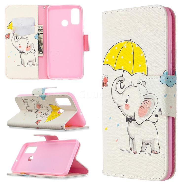 Umbrella Elephant Leather Wallet Case for Huawei P Smart (2020)
