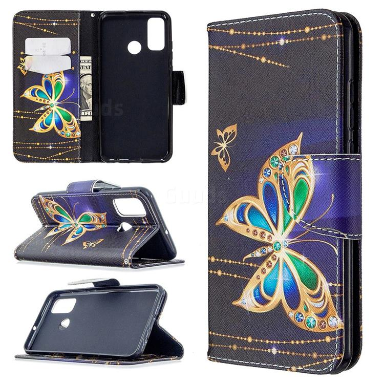 Golden Shining Butterfly Leather Wallet Case for Huawei P Smart (2020)