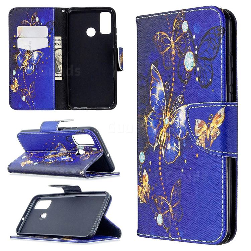 Purple Butterfly Leather Wallet Case for Huawei P Smart (2020)