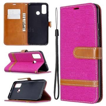 Jeans Cowboy Denim Leather Wallet Case for Huawei P Smart (2020) - Rose