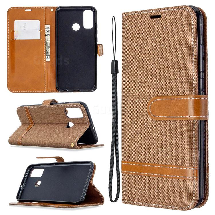 Jeans Cowboy Denim Leather Wallet Case for Huawei P Smart (2020) - Brown