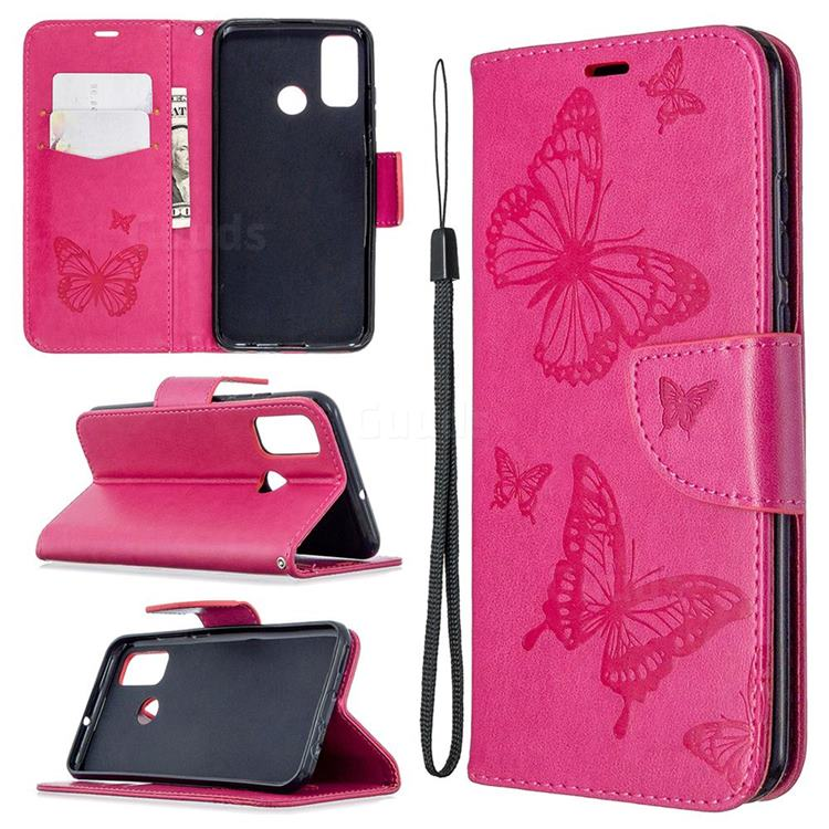 Embossing Double Butterfly Leather Wallet Case for Huawei P Smart (2020) - Red