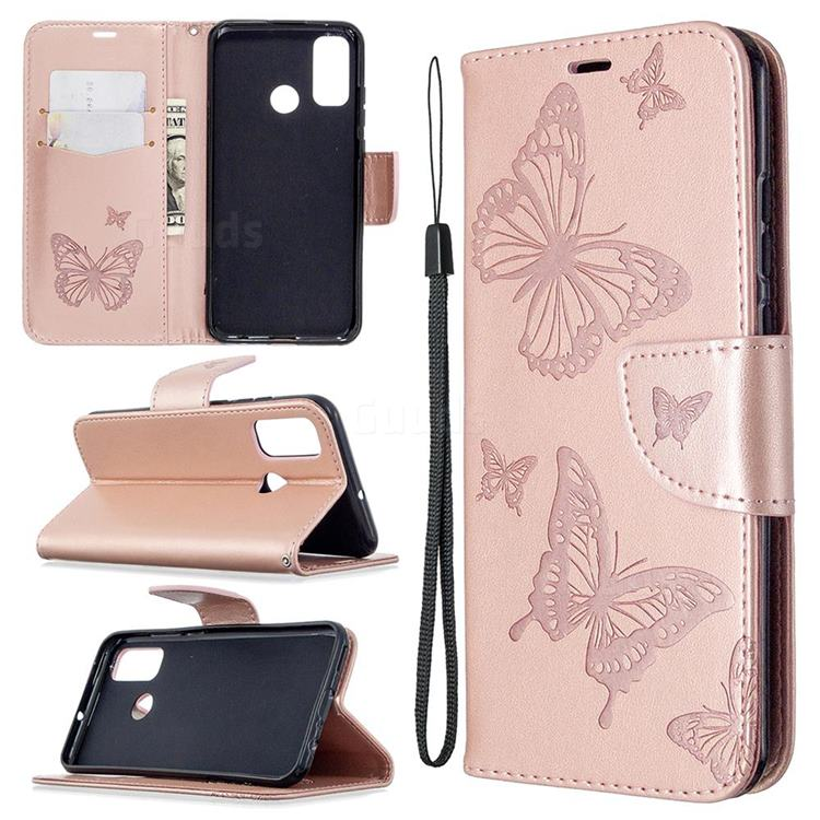 Embossing Double Butterfly Leather Wallet Case for Huawei P Smart (2020) - Rose Gold