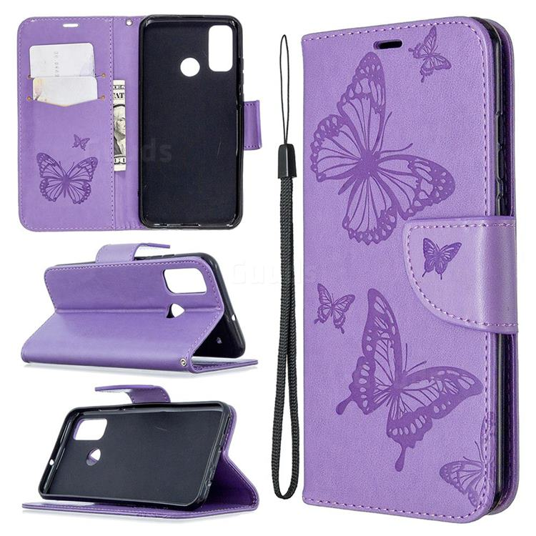 Embossing Double Butterfly Leather Wallet Case for Huawei P Smart (2020) - Purple