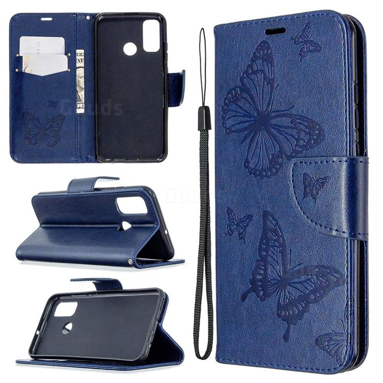 Embossing Double Butterfly Leather Wallet Case for Huawei P Smart (2020) - Dark Blue