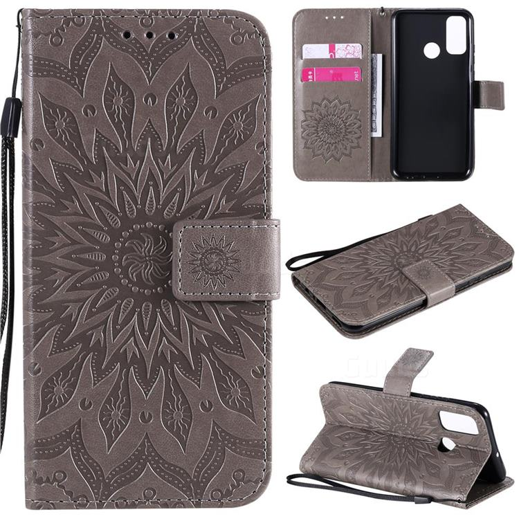 Embossing Sunflower Leather Wallet Case for Huawei P Smart (2020) - Gray