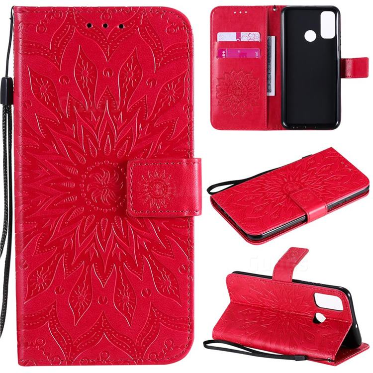 Embossing Sunflower Leather Wallet Case for Huawei P Smart (2020) - Red