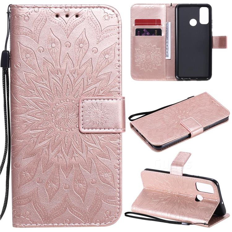 Embossing Sunflower Leather Wallet Case for Huawei P Smart (2020) - Rose Gold