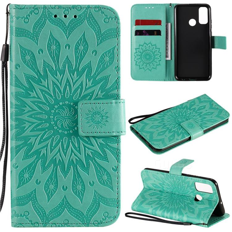 Embossing Sunflower Leather Wallet Case for Huawei P Smart (2020) - Green