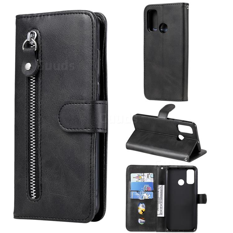 Retro Luxury Zipper Leather Phone Wallet Case for Huawei P Smart (2020) - Black