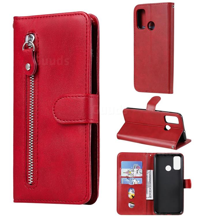 Retro Luxury Zipper Leather Phone Wallet Case for Huawei P Smart (2020) - Red