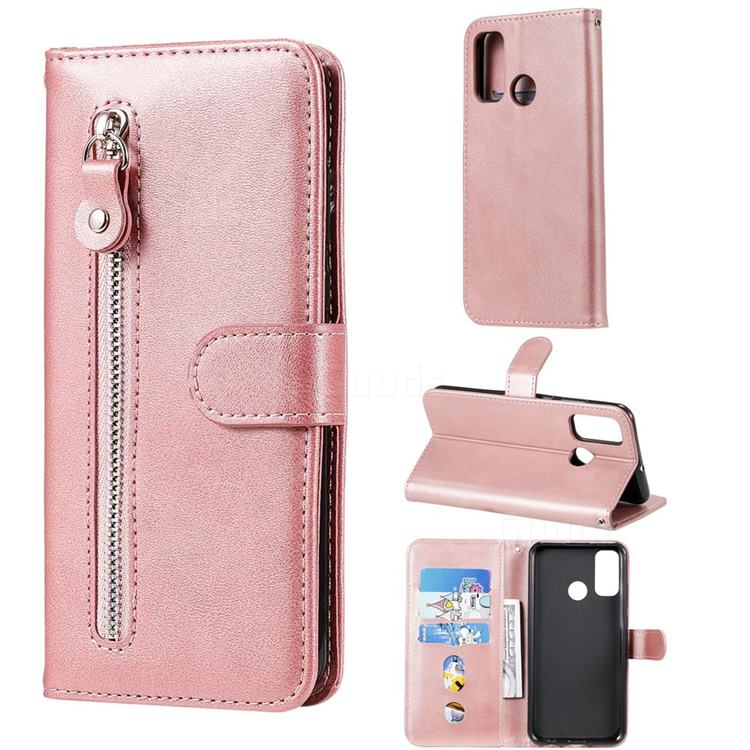 Retro Luxury Zipper Leather Phone Wallet Case for Huawei P Smart (2020) - Pink
