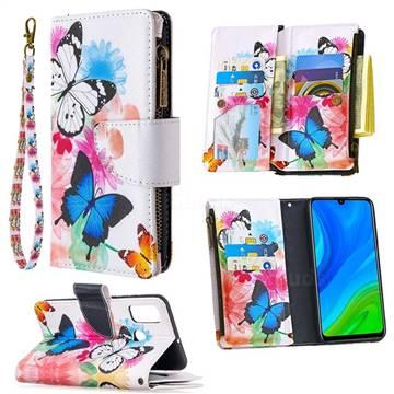 Vivid Flying Butterflies Binfen Color BF03 Retro Zipper Leather Wallet Phone Case for Huawei P Smart (2020)
