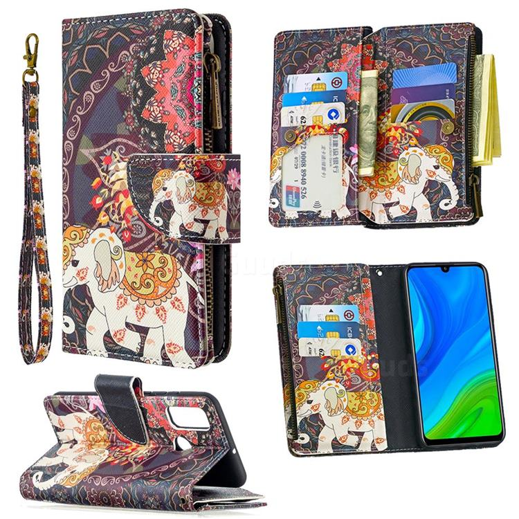 Totem Flower Elephant Binfen Color BF03 Retro Zipper Leather Wallet Phone Case for Huawei P Smart (2020)