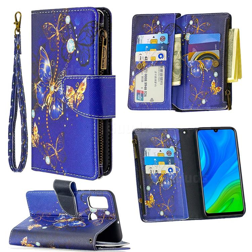Purple Butterfly Binfen Color BF03 Retro Zipper Leather Wallet Phone Case for Huawei P Smart (2020)