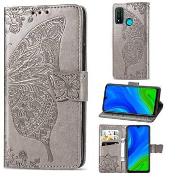 Embossing Mandala Flower Butterfly Leather Wallet Case for Huawei P Smart (2020) - Gray