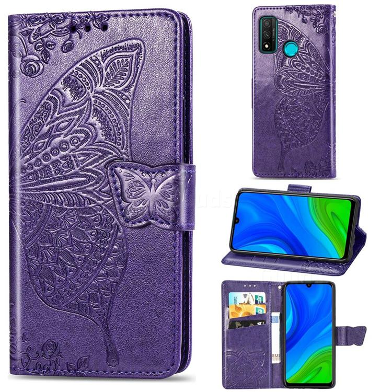 Embossing Mandala Flower Butterfly Leather Wallet Case for Huawei P Smart (2020) - Dark Purple