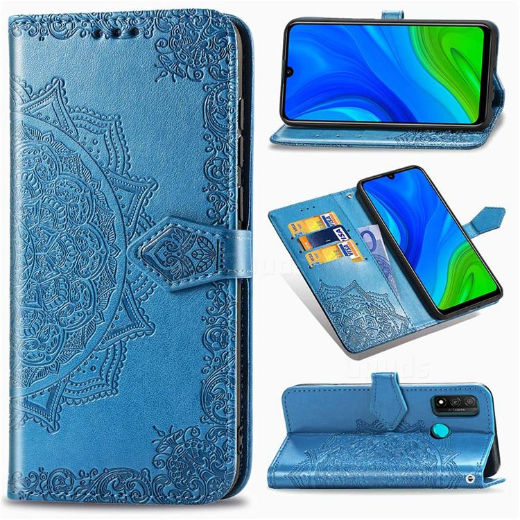Embossing Imprint Mandala Flower Leather Wallet Case for Huawei P Smart (2020) - Blue