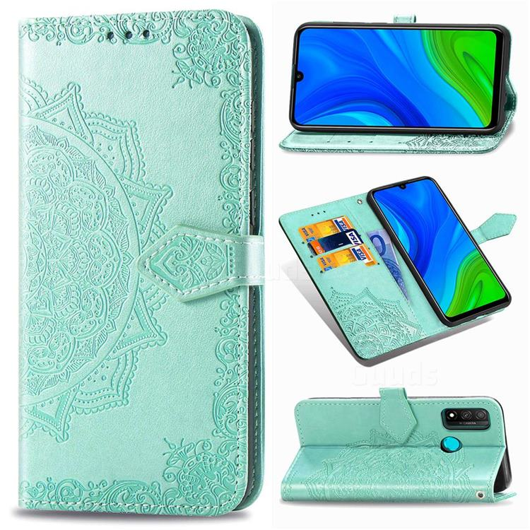 Embossing Imprint Mandala Flower Leather Wallet Case for Huawei P Smart (2020) - Green