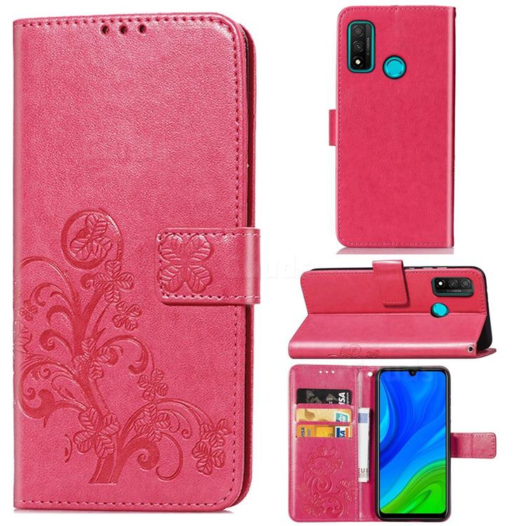 Embossing Imprint Four-Leaf Clover Leather Wallet Case for Huawei P Smart (2020) - Rose Red
