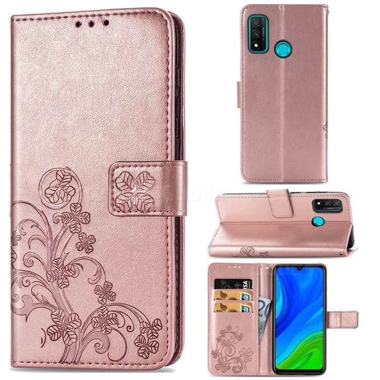 Embossing Imprint Four-Leaf Clover Leather Wallet Case for Huawei P Smart (2020) - Rose Gold