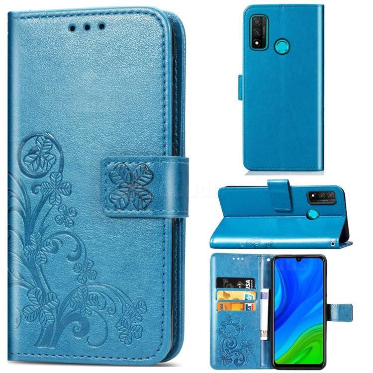 Embossing Imprint Four-Leaf Clover Leather Wallet Case for Huawei P Smart (2020) - Blue