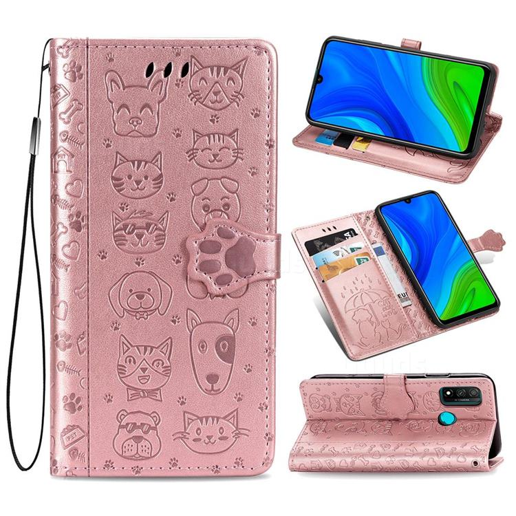 Embossing Dog Paw Kitten and Puppy Leather Wallet Case for Huawei P Smart (2020) - Rose Gold