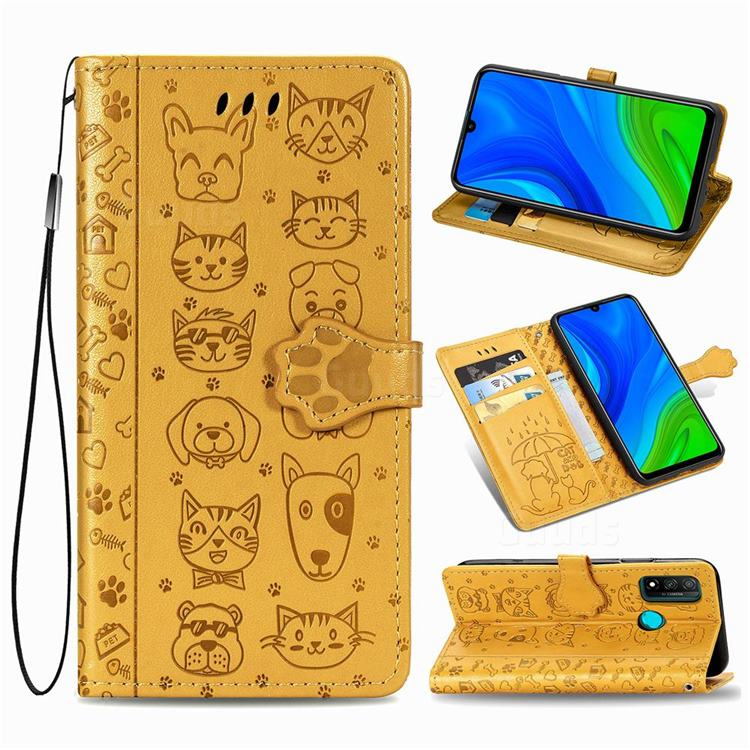 Embossing Dog Paw Kitten and Puppy Leather Wallet Case for Huawei P Smart (2020) - Yellow