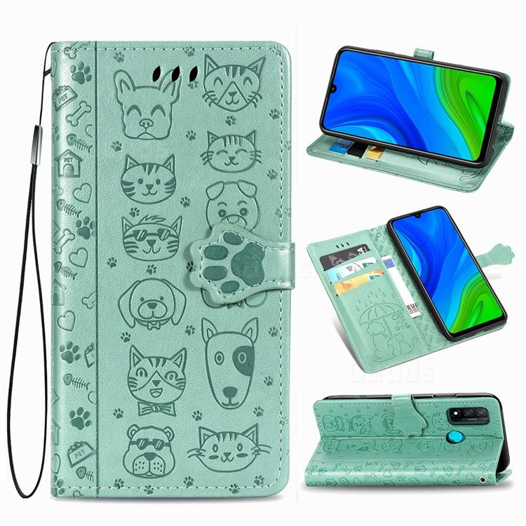 Embossing Dog Paw Kitten and Puppy Leather Wallet Case for Huawei P Smart (2020) - Green