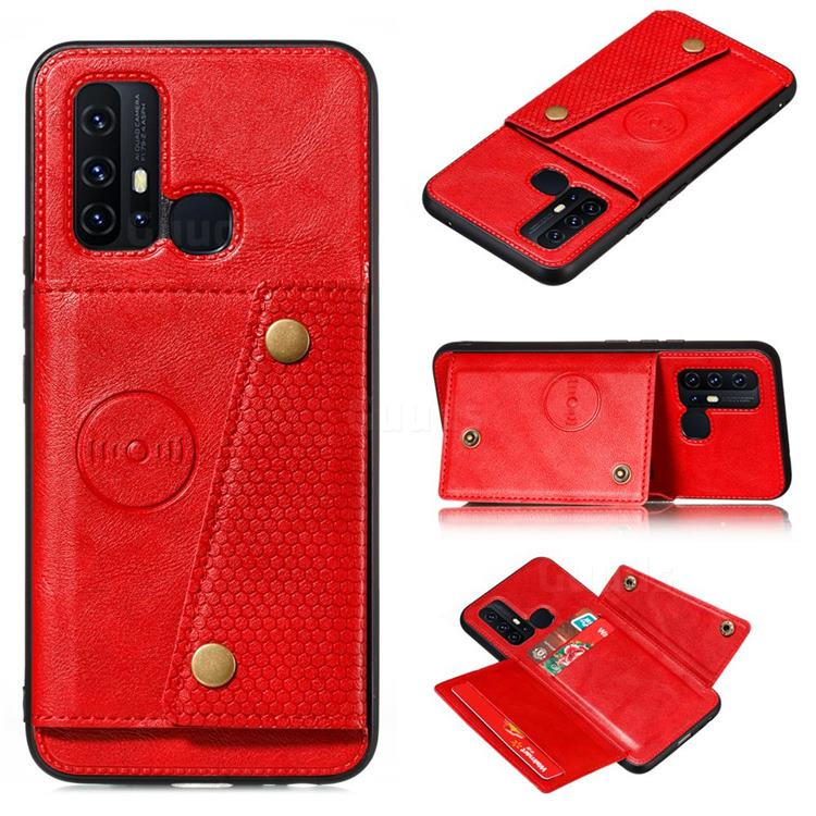 Retro Multifunction Card Slots Stand Leather Coated Phone Back Cover for Huawei P Smart (2020) - Red