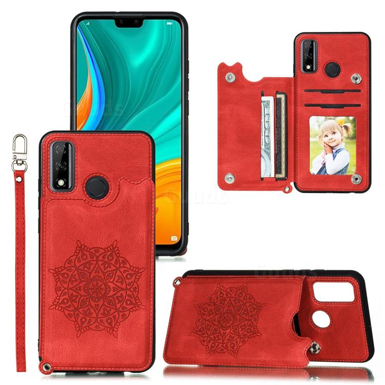 Luxury Mandala Multi-function Magnetic Card Slots Stand Leather Back Cover for Huawei P Smart (2020) - Red