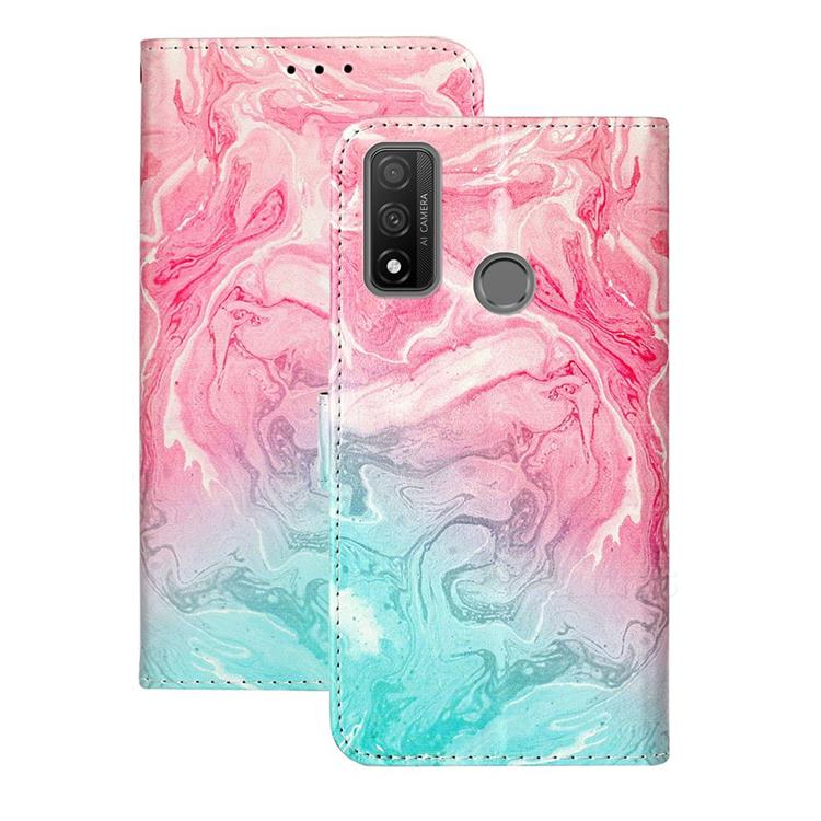 Pink Green Marble PU Leather Wallet Case for Huawei P Smart (2020)