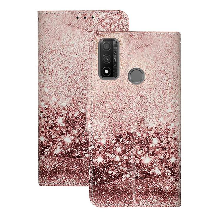 Glittering Rose Gold PU Leather Wallet Case for Huawei P Smart (2020)