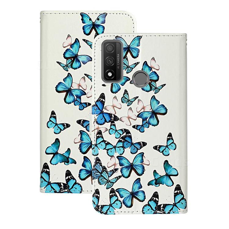 Blue Vivid Butterflies PU Leather Wallet Case for Huawei P Smart (2020)