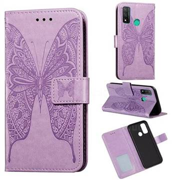 Intricate Embossing Vivid Butterfly Leather Wallet Case for Huawei P Smart (2020) - Purple