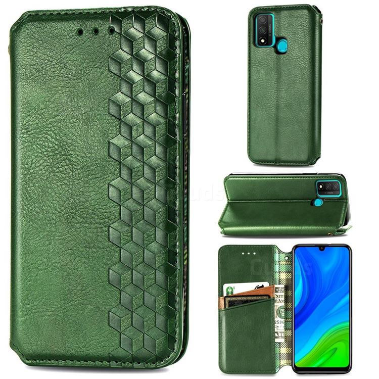 Ultra Slim Fashion Business Card Magnetic Automatic Suction Leather Flip Cover for Huawei P Smart (2020) - Green