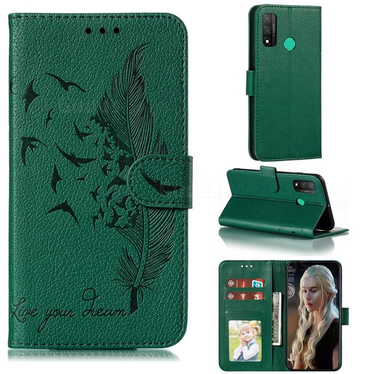 Intricate Embossing Lychee Feather Bird Leather Wallet Case for Huawei P Smart (2020) - Green
