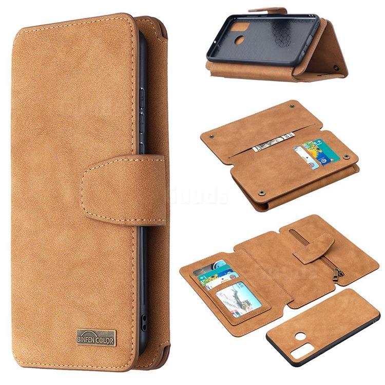 Binfen Color BF07 Frosted Zipper Bag Multifunction Leather Phone Wallet for Huawei P Smart (2020) - Brown