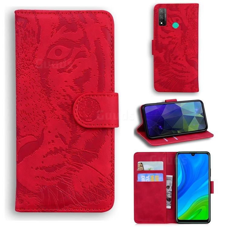 Intricate Embossing Tiger Face Leather Wallet Case for Huawei P Smart (2020) - Red