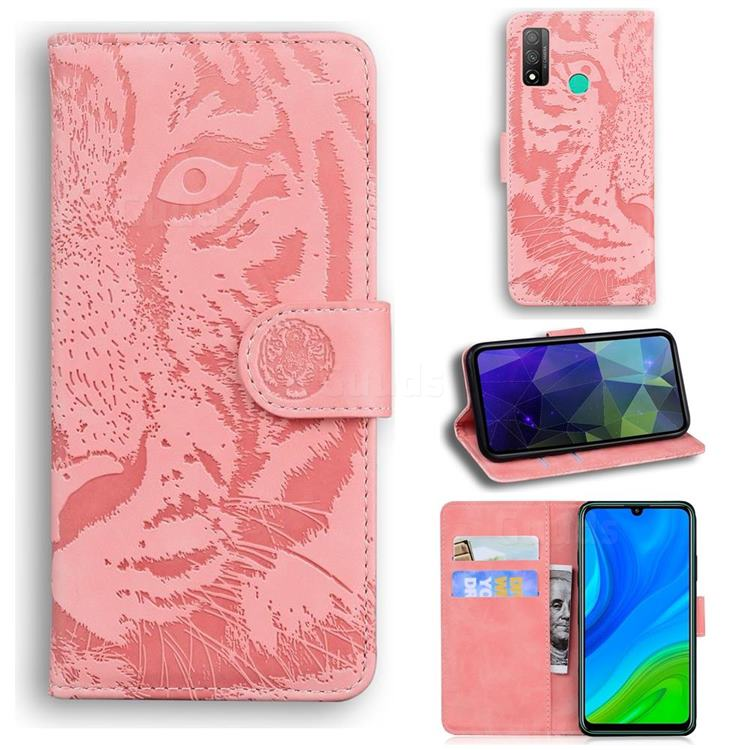 Intricate Embossing Tiger Face Leather Wallet Case for Huawei P Smart (2020) - Pink