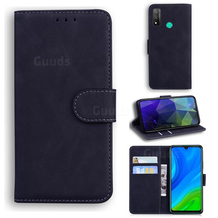 Retro Classic Skin Feel Leather Wallet Phone Case for Huawei P Smart (2020) - Black