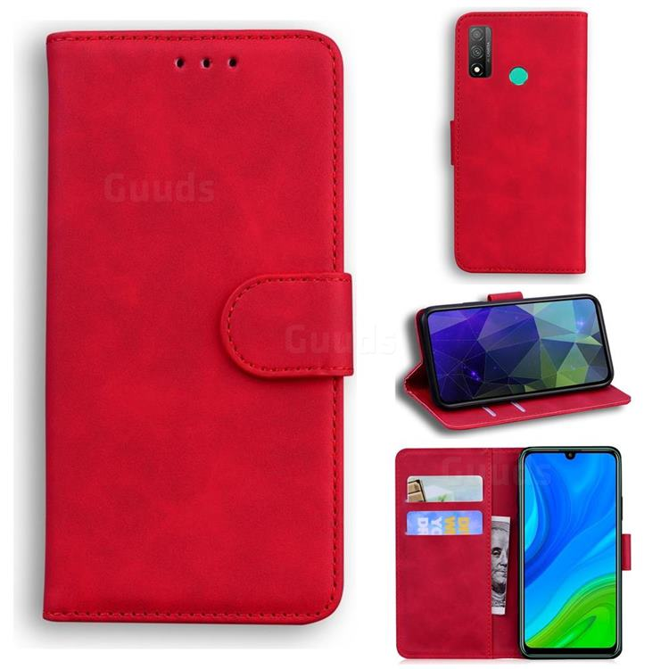 Retro Classic Skin Feel Leather Wallet Phone Case for Huawei P Smart (2020) - Red